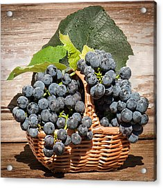Grapes And Leaves In Basket Acrylic Print by Len Romanick