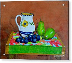 Grapes And Pairs Acrylic Print by Melvin Turner