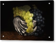 Grapes In Silver Seashell Still Life Acrylic Print by Tom Mc Nemar
