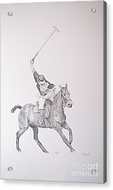 Graphite Drawing - Shooting For The Polo Goal Acrylic Print