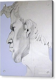 Acrylic Print featuring the drawing Graphite Portrait Sketch Of A Young Man In Profile by Greta Corens