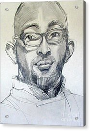 Acrylic Print featuring the drawing Graphite Portrait Sketch Of A Young Man With Glasses by Greta Corens