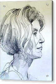 Portrait Drawing Of A Woman In Profile Acrylic Print