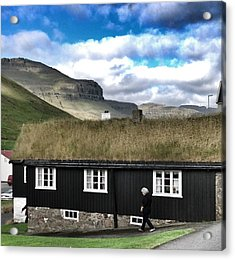 Grass Roof House In Faroe Islands Acrylic Print