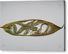Grasshopper On Bamboo Leaf Acrylic Print by Alfred Ng