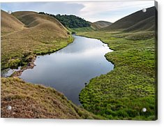 Grassy Hills And Lake Acrylic Print