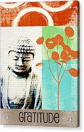 Gratitude Card- Zen Buddha Acrylic Print by Linda Woods
