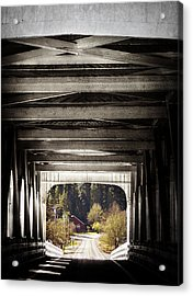 Grave Creek Covered Bridge Acrylic Print by Melanie Lankford Photography