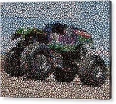 Grave Digger Bottle Cap Mosaic Acrylic Print by Paul Van Scott
