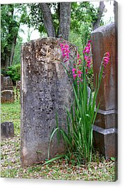 Acrylic Print featuring the photograph Grave Stone With Pink Flowers by Jeanne  Woods
