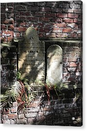 Grave Stones With Fern Acrylic Print by Patricia Greer
