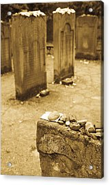 Gravestone At Old Jewish Cemetery Acrylic Print by Panoramic Images