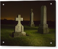 Gravestones At Night Painted With Light Acrylic Print by Jean Noren