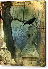 Graveyard Cross Acrylic Print by Gothicrow Images