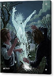 Graveyard Digger Ghost Rising From Grave Acrylic Print