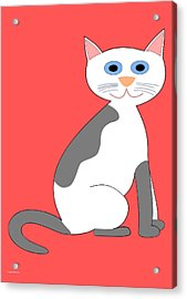 Gray And White Smiling Cat Acrylic Print