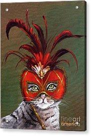 Gray Cat With Venetian Mask Fairy Tale Acrylic Print