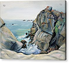 Acrylic Print featuring the painting Gray Rocks And Sky At Gerstle Cove by Asha Carolyn Young