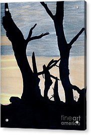 Acrylic Print featuring the drawing Gray Sunset by D Hackett