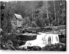 Grayscale Mill And Waterfall Acrylic Print