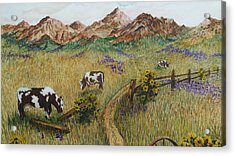 Grazing Cows Acrylic Print by Katherine Young-Beck