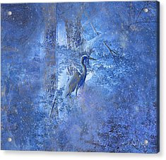 Acrylic Print featuring the digital art Great Blue Heron In Cosmic Meditation by J Larry Walker