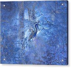 Great Blue Heron In Cosmic Meditation Acrylic Print by J Larry Walker