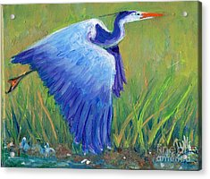 Acrylic Print featuring the painting Great Blue Heron Mini Painting by Doris Blessington