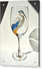 Great Blue Heron Wineglass Acrylic Print by Pauline Ross
