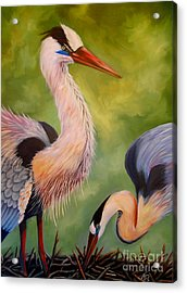 Acrylic Print featuring the painting Great Blue Herons by Nancy Bradley