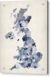 Great Britain Uk Watercolor Map Acrylic Print by Michael Tompsett