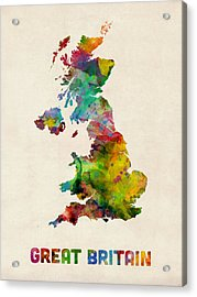 Great Britain Watercolor Map Acrylic Print by Michael Tompsett