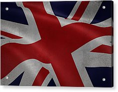 Great Britains Flag Waving On Canvas Acrylic Print by Eti Reid