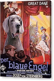 Great Dane Art Canvas Print - Der Blaue Engel Movie Poster Acrylic Print