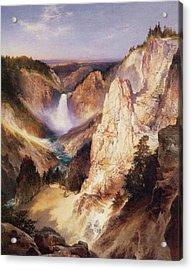 Great Falls Of Yellowstone Acrylic Print by Thomas Moran