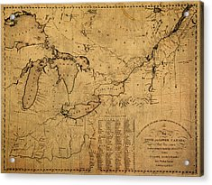 Great Lakes And Canada Vintage Map On Worn Canvas Circa 1812 Acrylic Print by Design Turnpike
