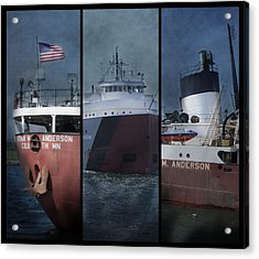 Great Lakes Freighter Triptych Arthur M Anderson Acrylic Print by Evie Carrier