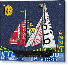 Great Lakes States Sailboat Recycled Vintage License Plate Art Acrylic Print by Design Turnpike