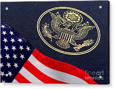 Great Seal Of The United States And American Flag Acrylic Print by Olivier Le Queinec