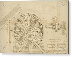 Great Sling Rotating On Horizontal Plane Great Wheel And Crossbows Devices From Atlantic Codex Acrylic Print by Leonardo Da Vinci