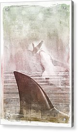 Acrylic Print featuring the digital art Great White Attack by Davina Washington