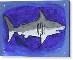 Great White In The Deep Blue Sea Acrylic Print by Fred Hanna