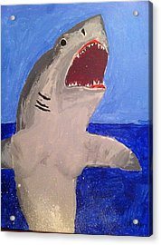 Great White Shark Breaching Acrylic Print by Fred Hanna