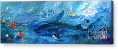 Acrylic Print featuring the painting Great White Shark Coral Reef Ocean Life by Ginette Callaway