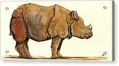 Greated One Horned Rhinoceros Acrylic Print by Juan  Bosco