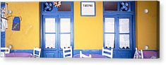 Greece, Hydra, Empty Restaurant Acrylic Print by Panoramic Images