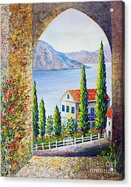Acrylic Print featuring the painting Greek Arch Vista by Lou Ann Bagnall