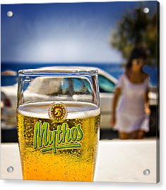 Greek Beer Goggles Acrylic Print by Meirion Matthias