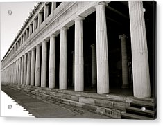 Greek Columns Black And White Acrylic Print by Corinne Rhode