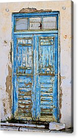 Greek Door Acrylic Print by John Babis